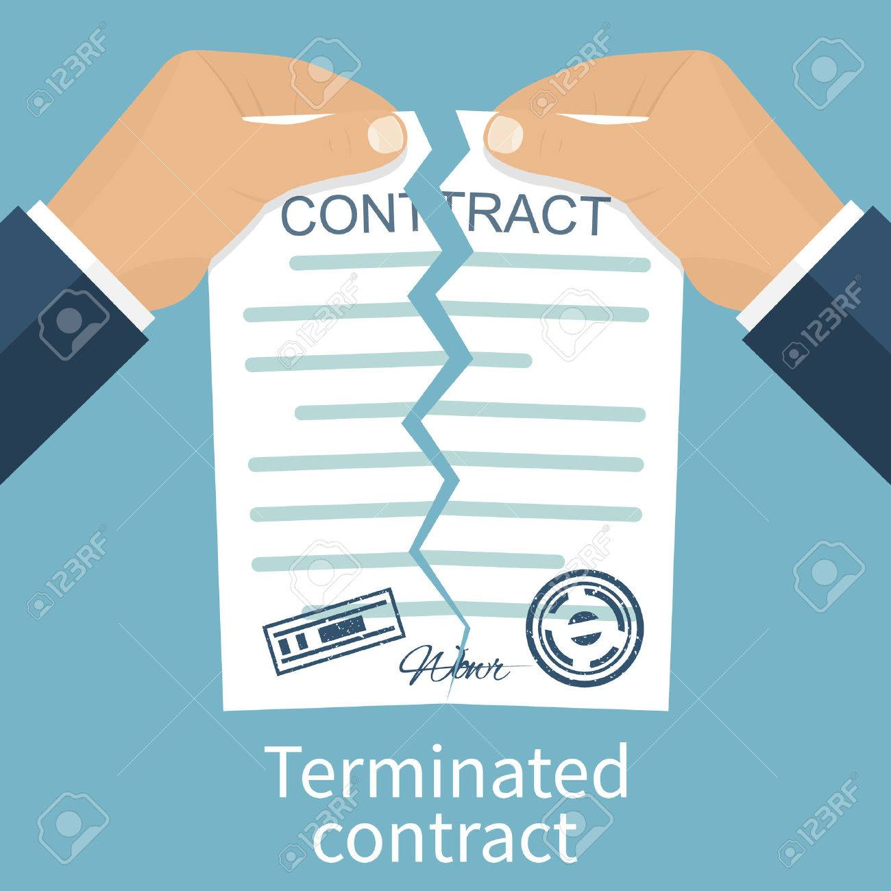 Terminated Contract. Businessman Tearing Contract Hands. Flat Design Style  Vector Illustration. Concept Of