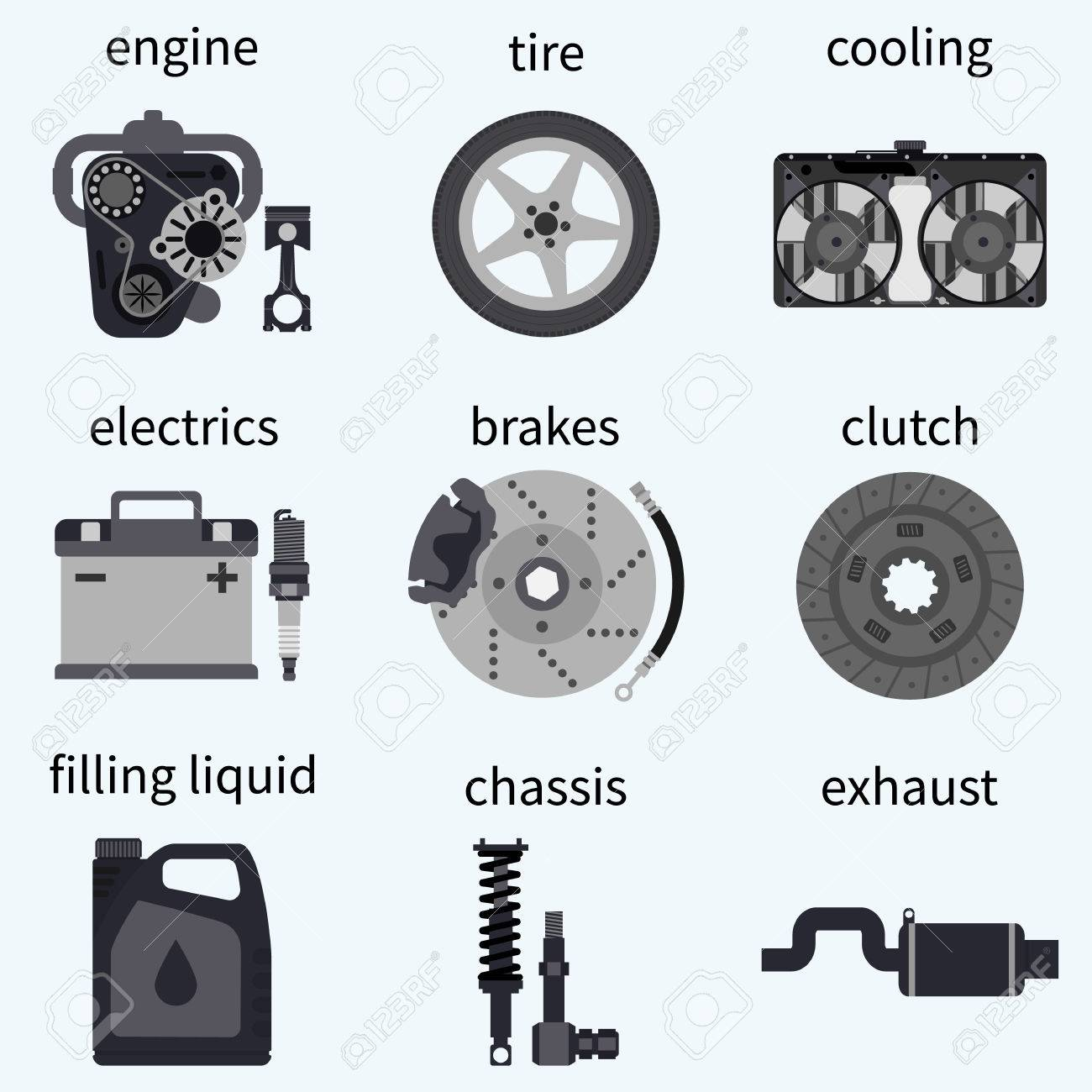 Set Car Parts. Automobile Systems. Car Repairs. Engine, Wheel ...
