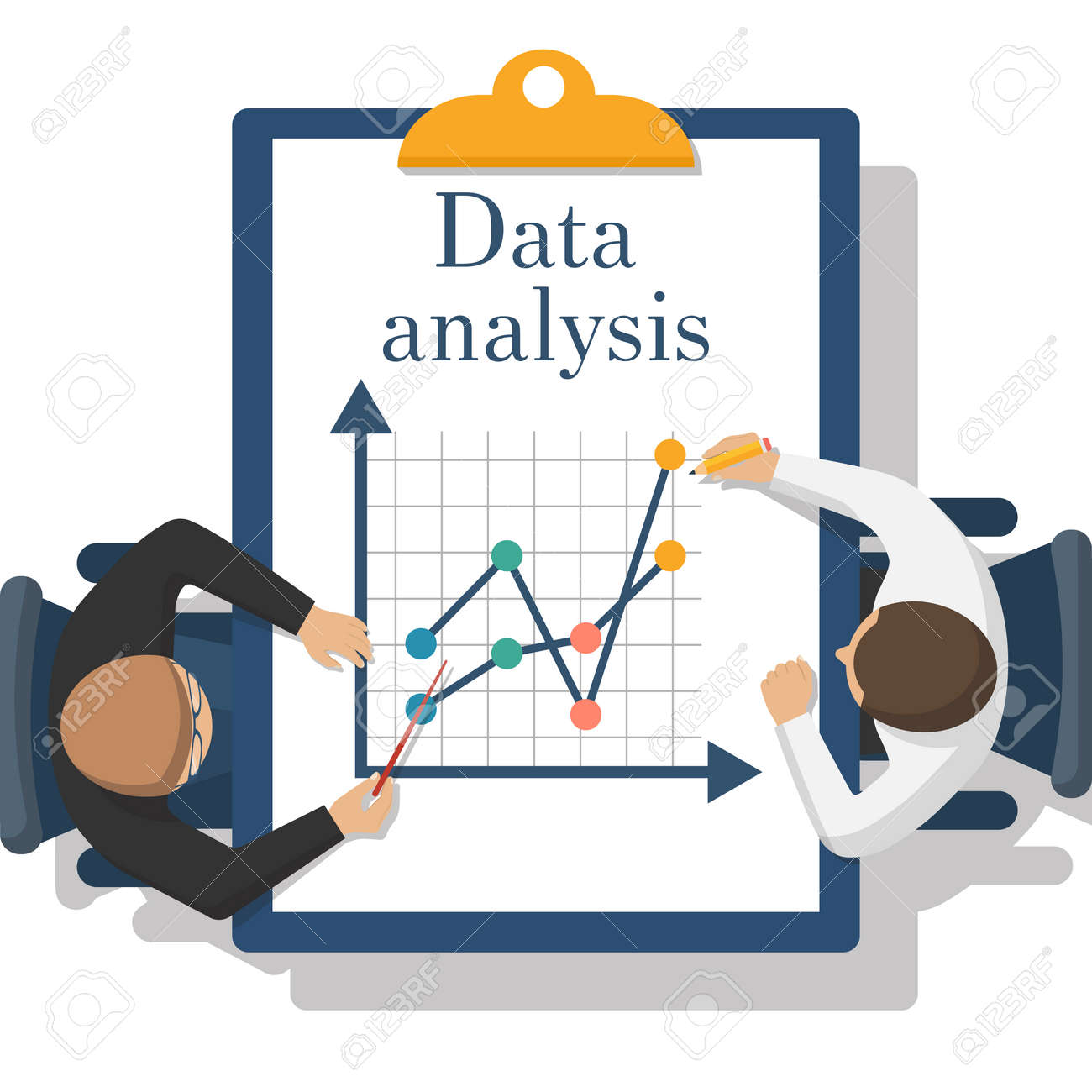 abstract data analysis two businessman analyze charts diagrams rh 123rf com date clipart for each day date clipart for each day