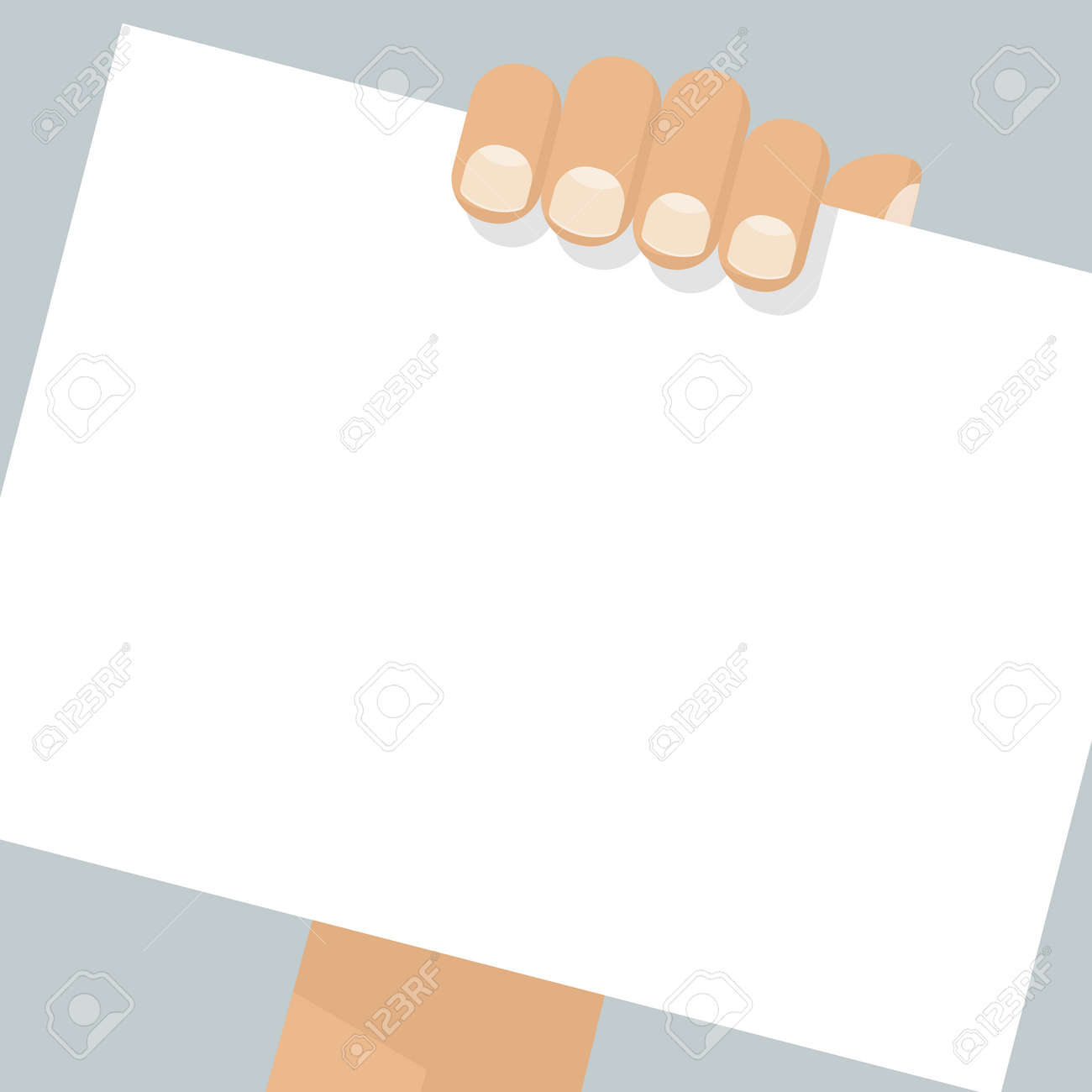 hand holding blank sheet of paper template empty sheet for
