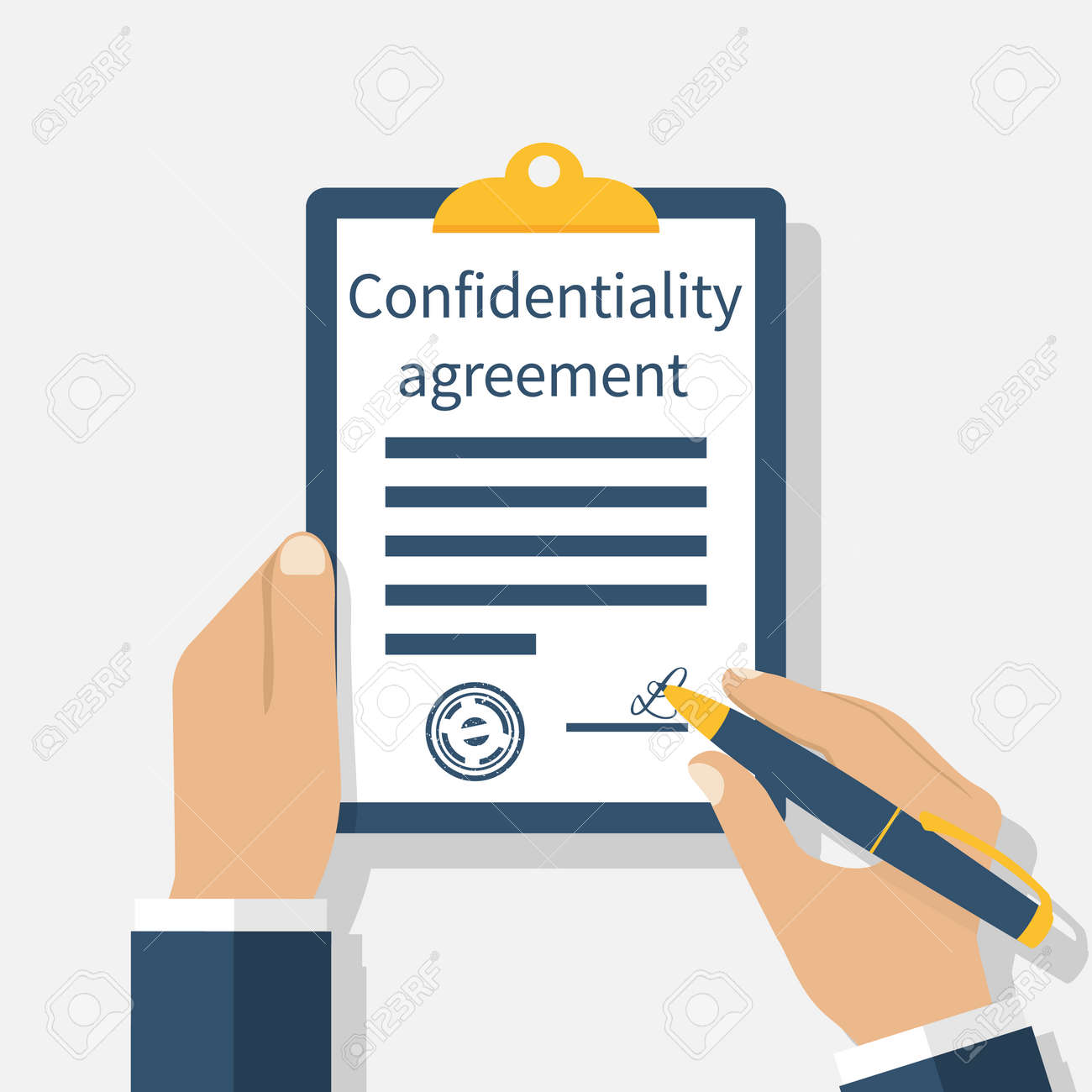 Confidentiality agreement clipboard with documents in the hands confidentiality agreement clipboard with documents in the hands of men pen in hand signing platinumwayz