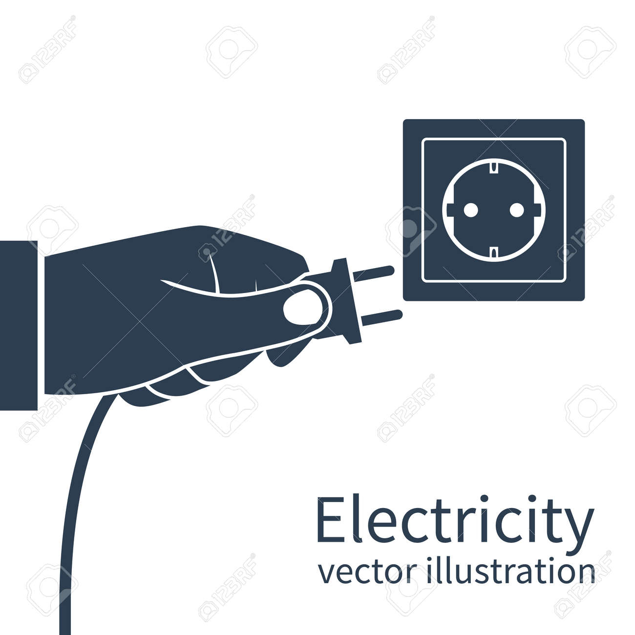 Electric Power Plug Holding In Hand, Black Icon Isolated On White ... for unplug icon  192sfw