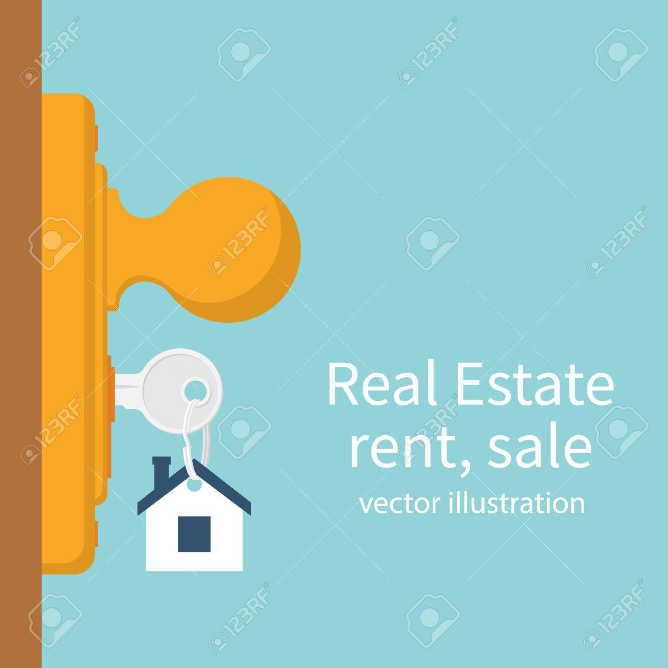key in keyhole on door real estate concept template for sales