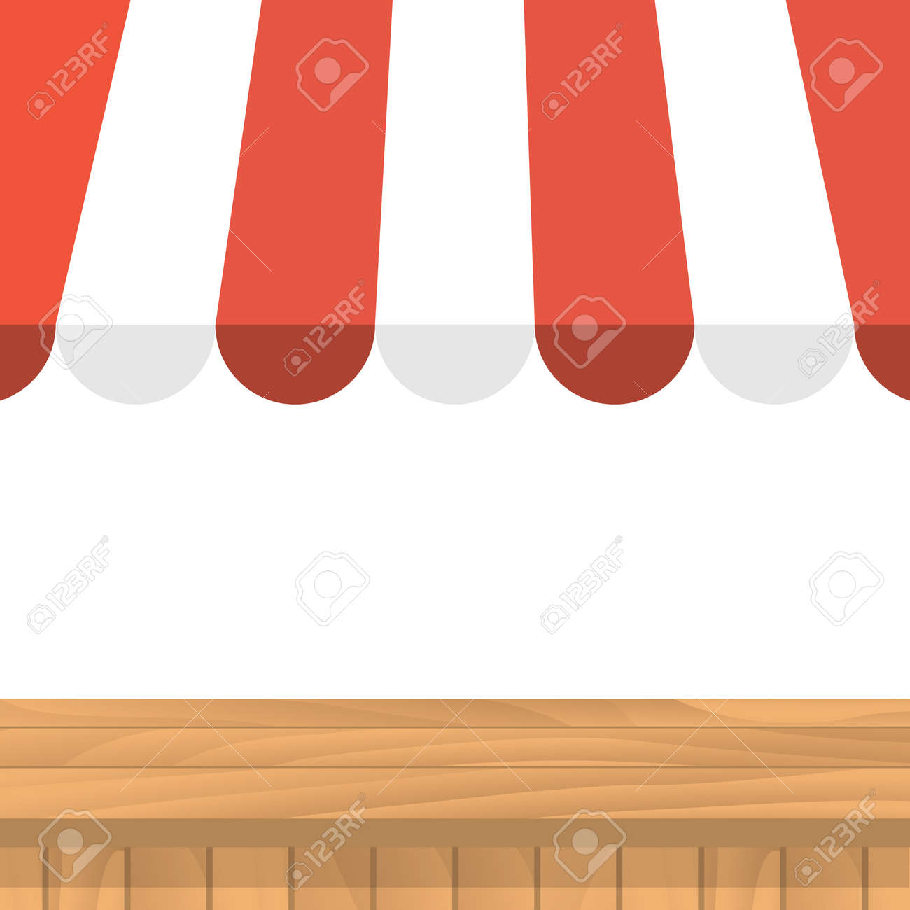 wooden table striped awning market stall shopping market stall shopping background template for and advertising of products on white street showcase local market vector illustration flat design