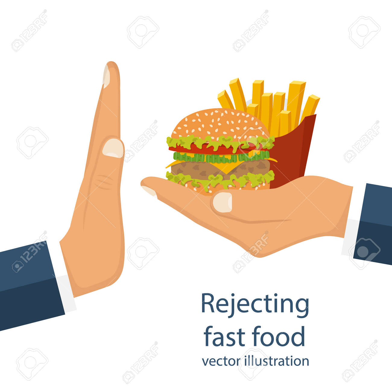 rejecting the offered junk food gesture hand no rejecting rejecting the offered junk food gesture hand
