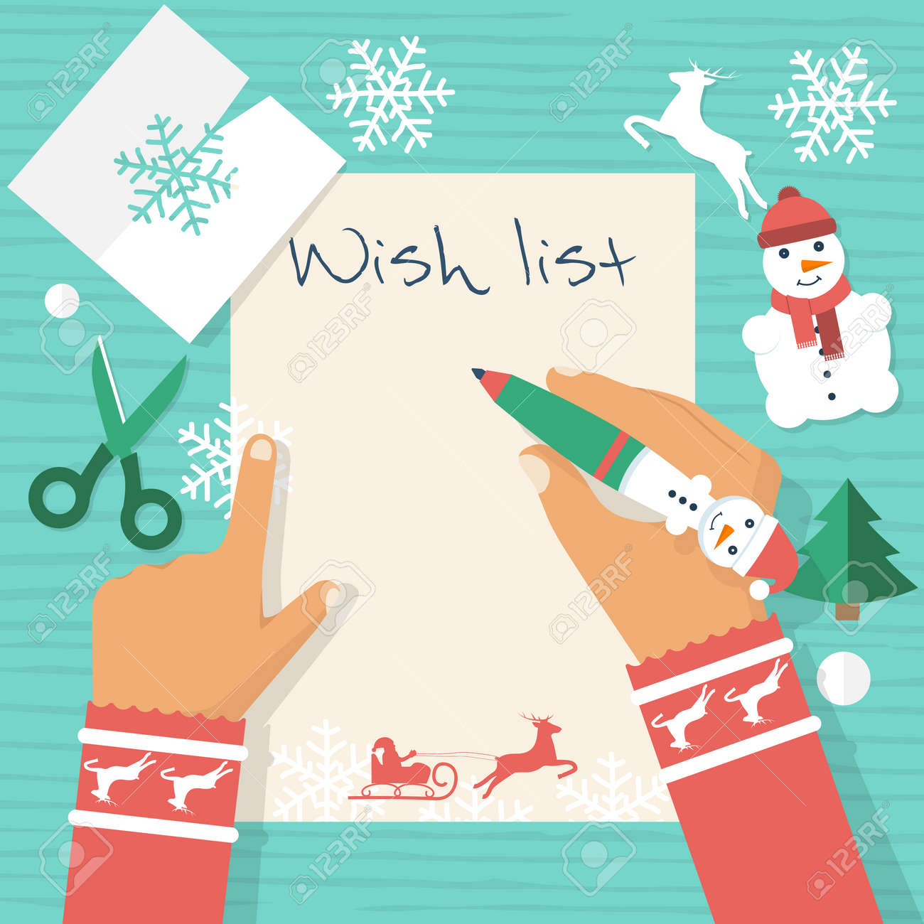 child at table writing a letter to santa claus wish list merry christmas and new