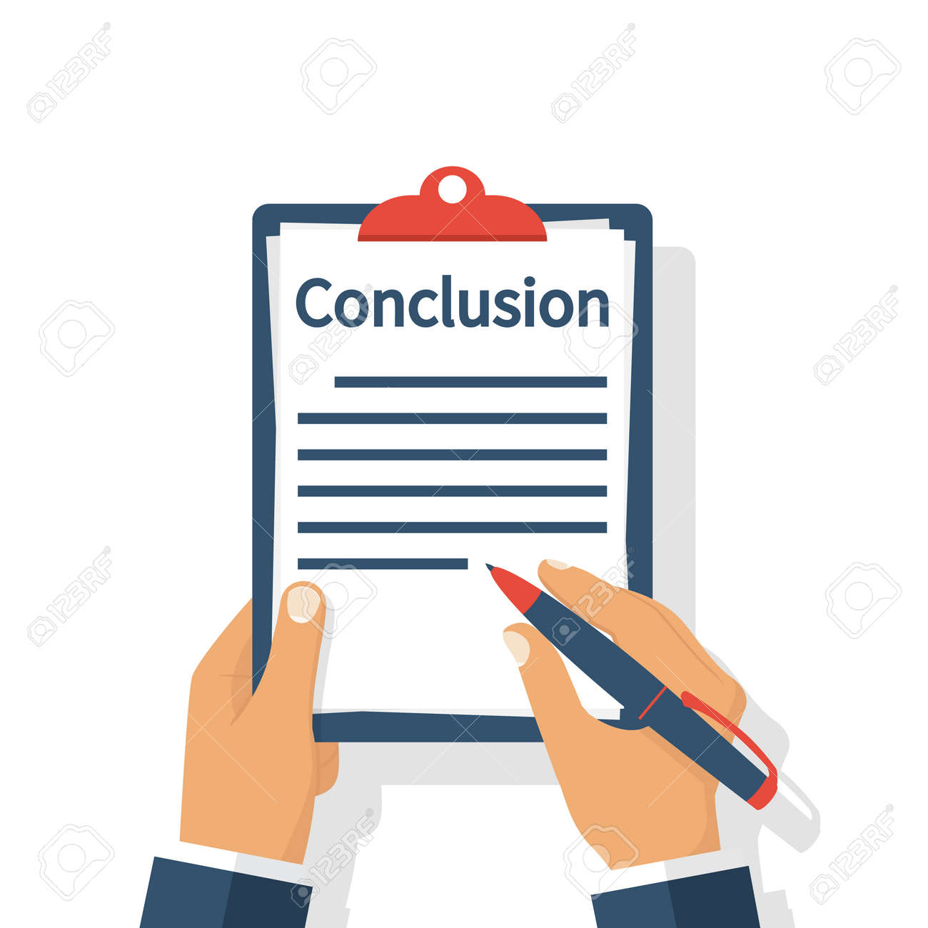 businessman writes conclusion report concept paperwork sheets rh 123rf com drawing conclusion clipart conclusion clipart images