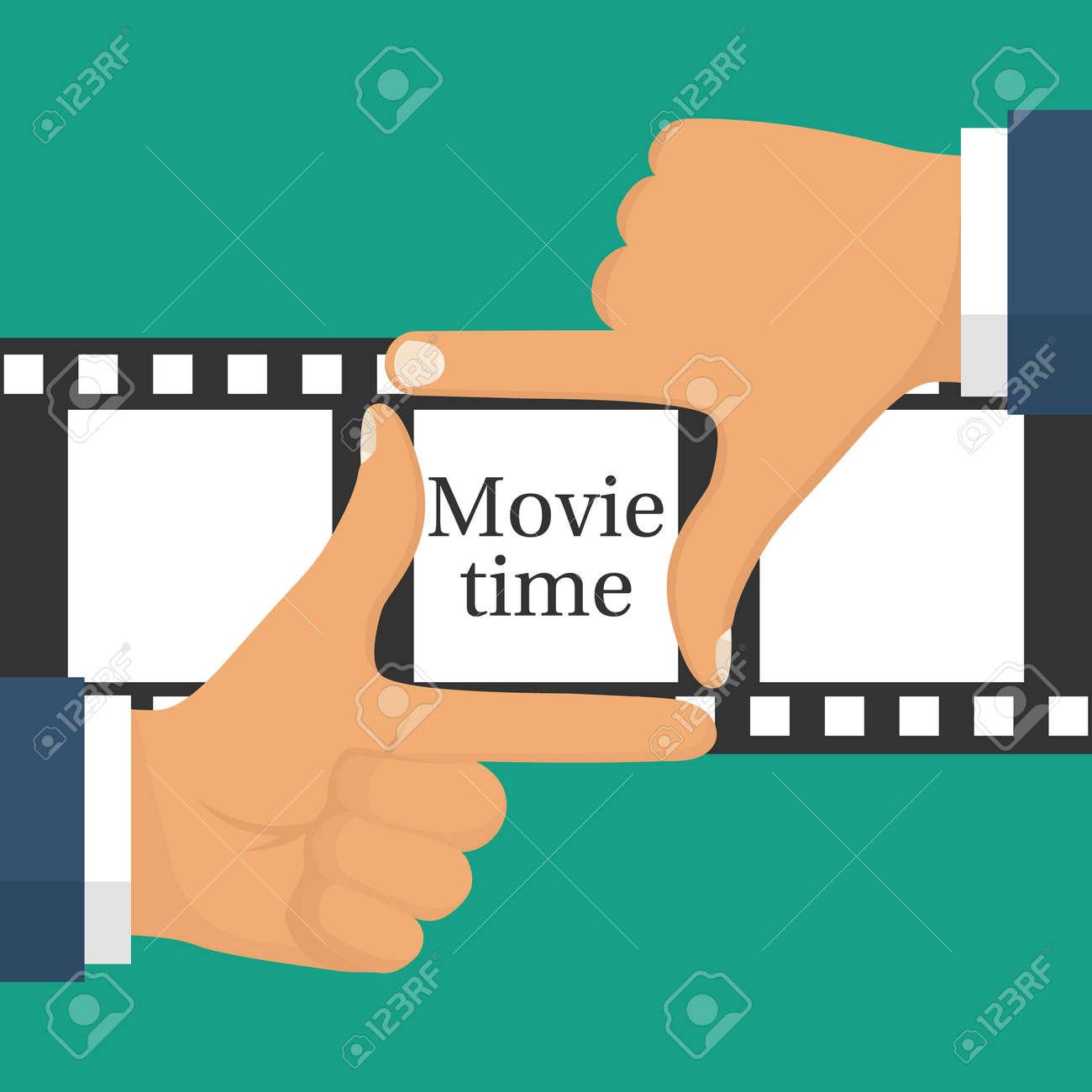 Video-Film-Konzept. Filmzeit Isoliert. Demnächst Vorlage. Männlicher ...