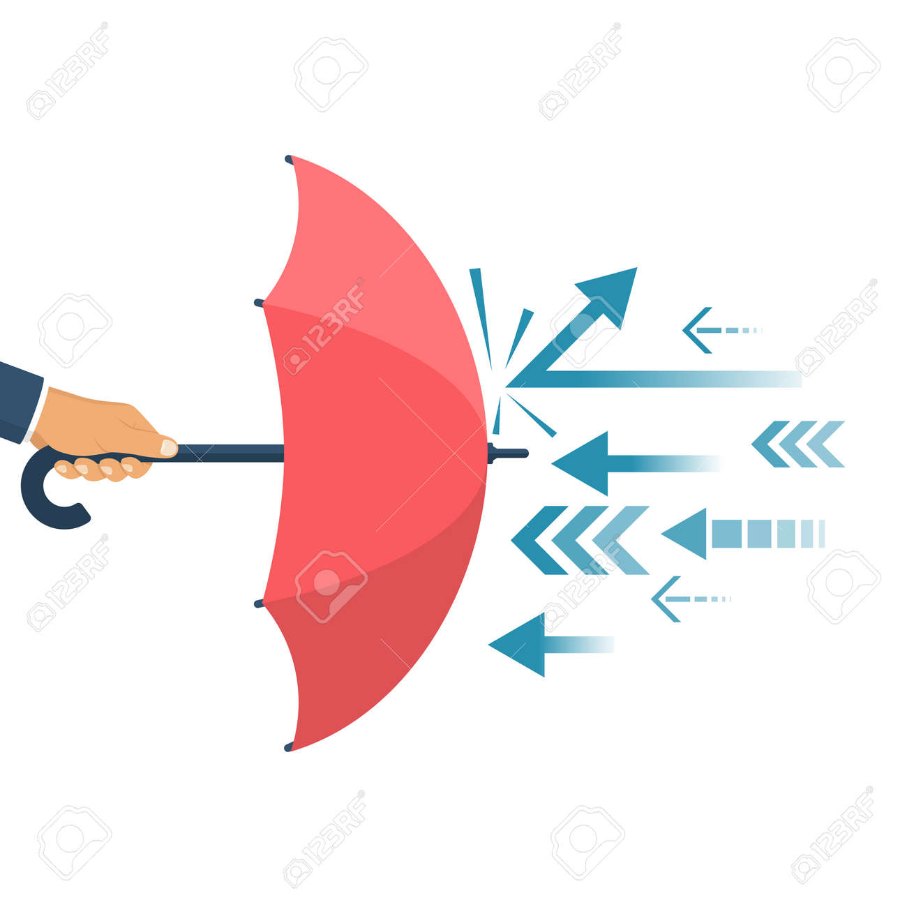 Protected from attack, concept. Defender business metaphor. Financial security. Businessman is holding an umbrella as a shield reflecting the attacks. - 72310661