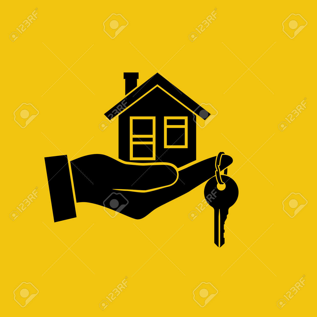 House Key In Hand Icon Real Estate Agent Holds The Key From - Template for selling a house