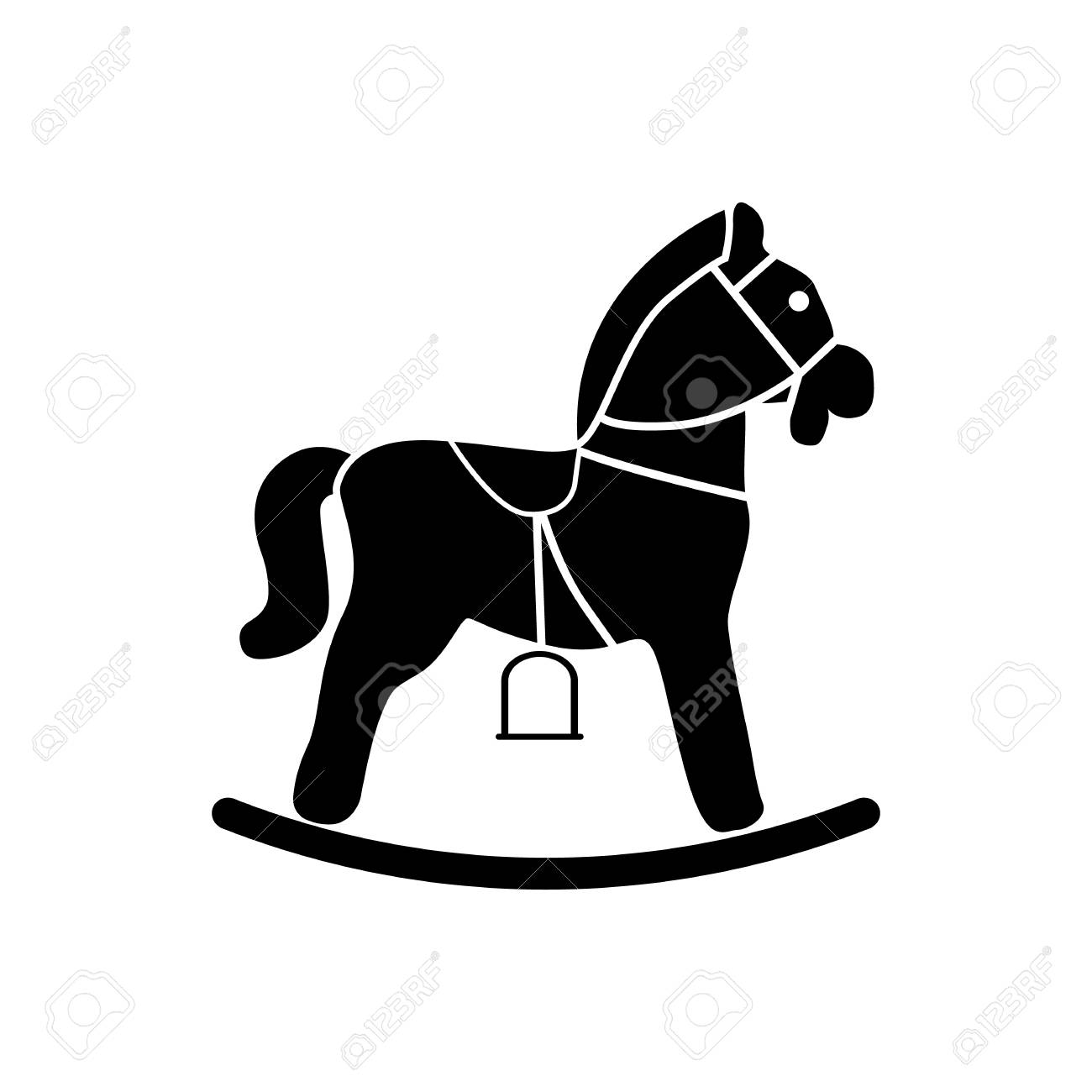 Rocking Horse Icon Black Silhouette Royalty Free Cliparts Vectors And Stock Illustration Image 79669114