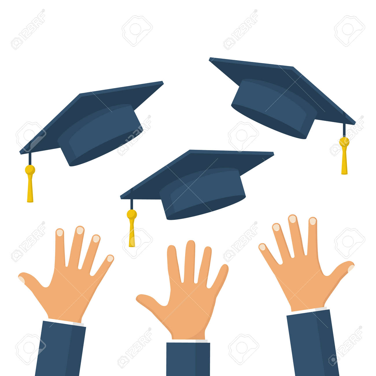 graduates throwing graduation hats in the air concept of education