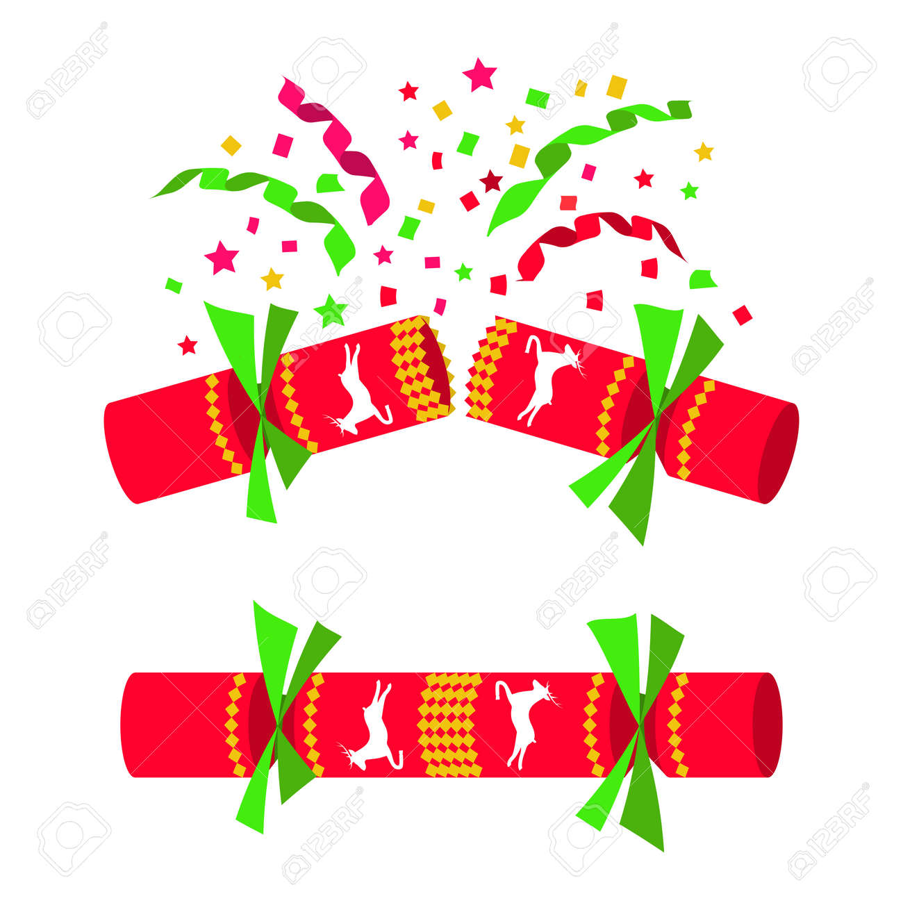 Christmas Cracker Vector.Christmas Cracker Isolated In White Background