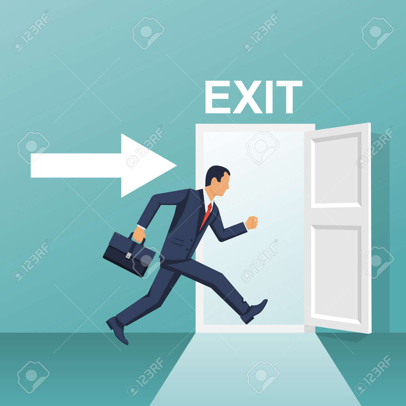 Businessman runs into open door - 95016408