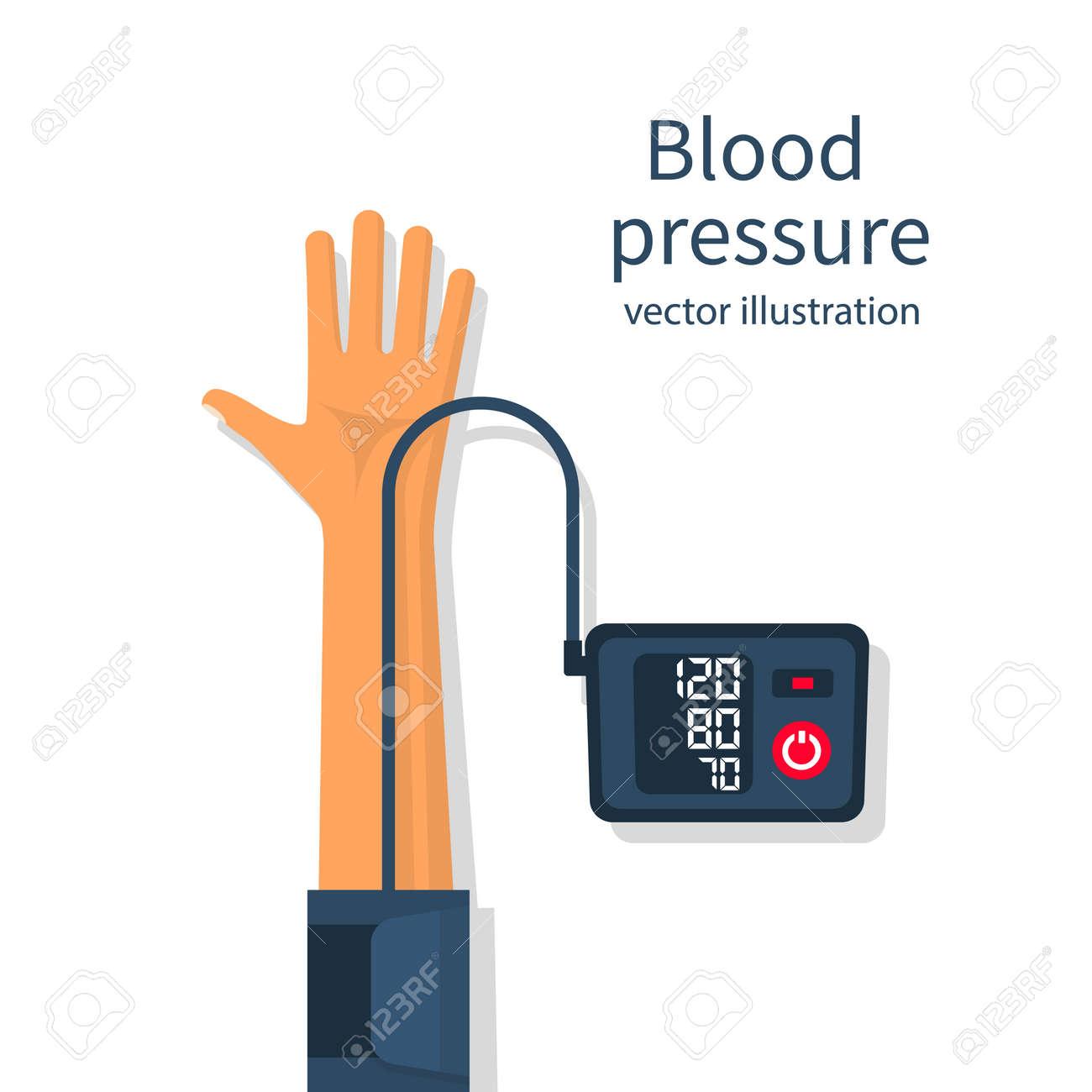 Man measuring patient blood pressure - 95574142