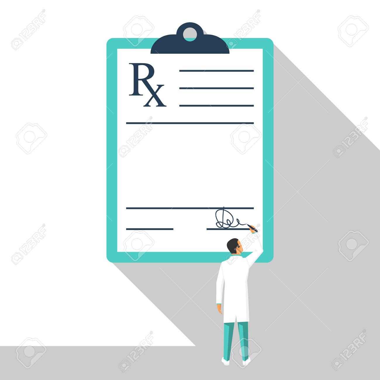 Miniature Doctor Writing Prescription. Clipboard Whit Signature ...
