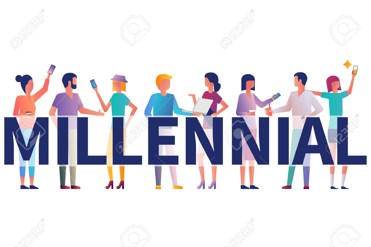 Millennial concept. Group students with gadgets in their hands. Vector illustration flat design. Isolated on white background. Modern fashionable young people. Generation y. - 112163241