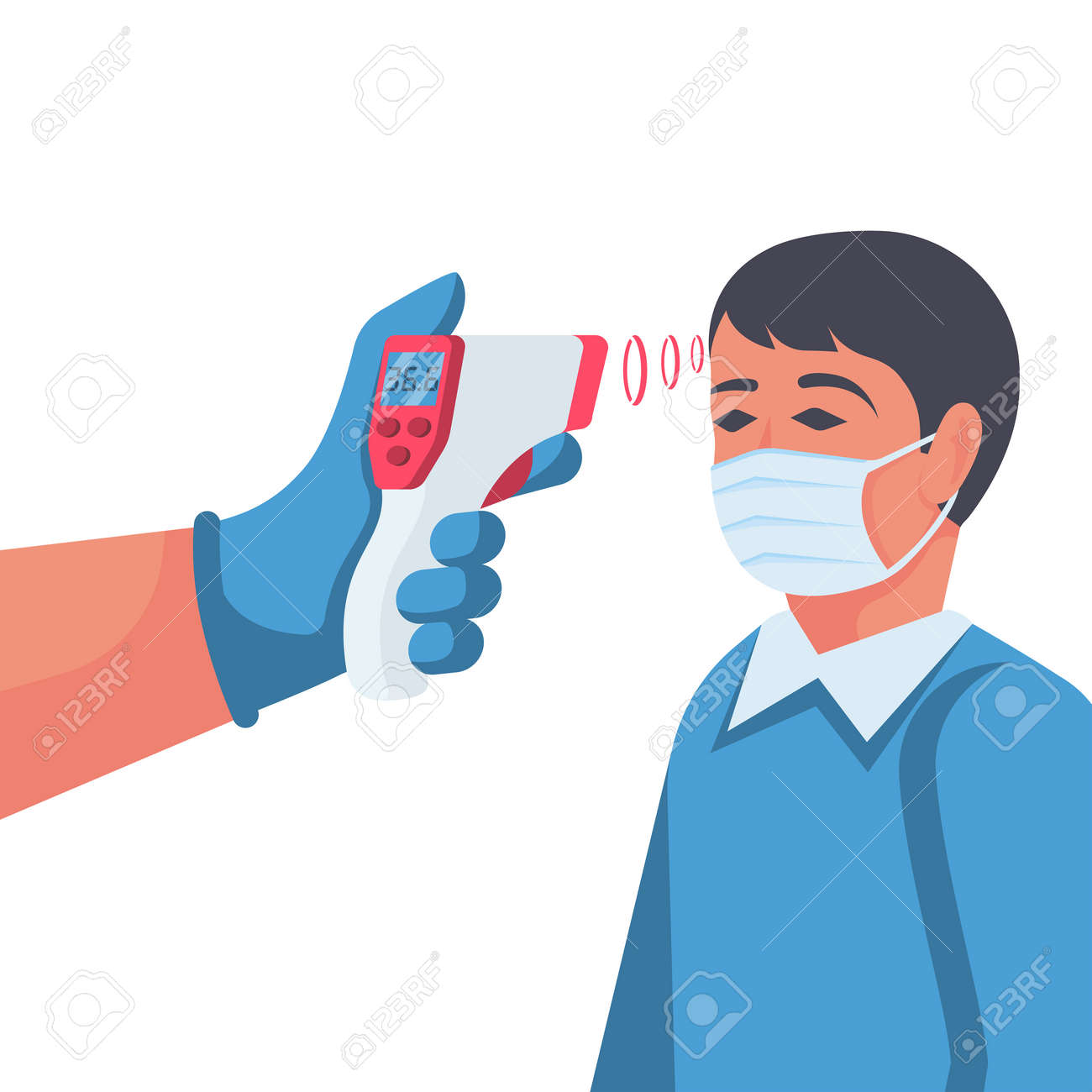 Temperature check. Doctor holding a non-contact thermometer in hand - 143295897
