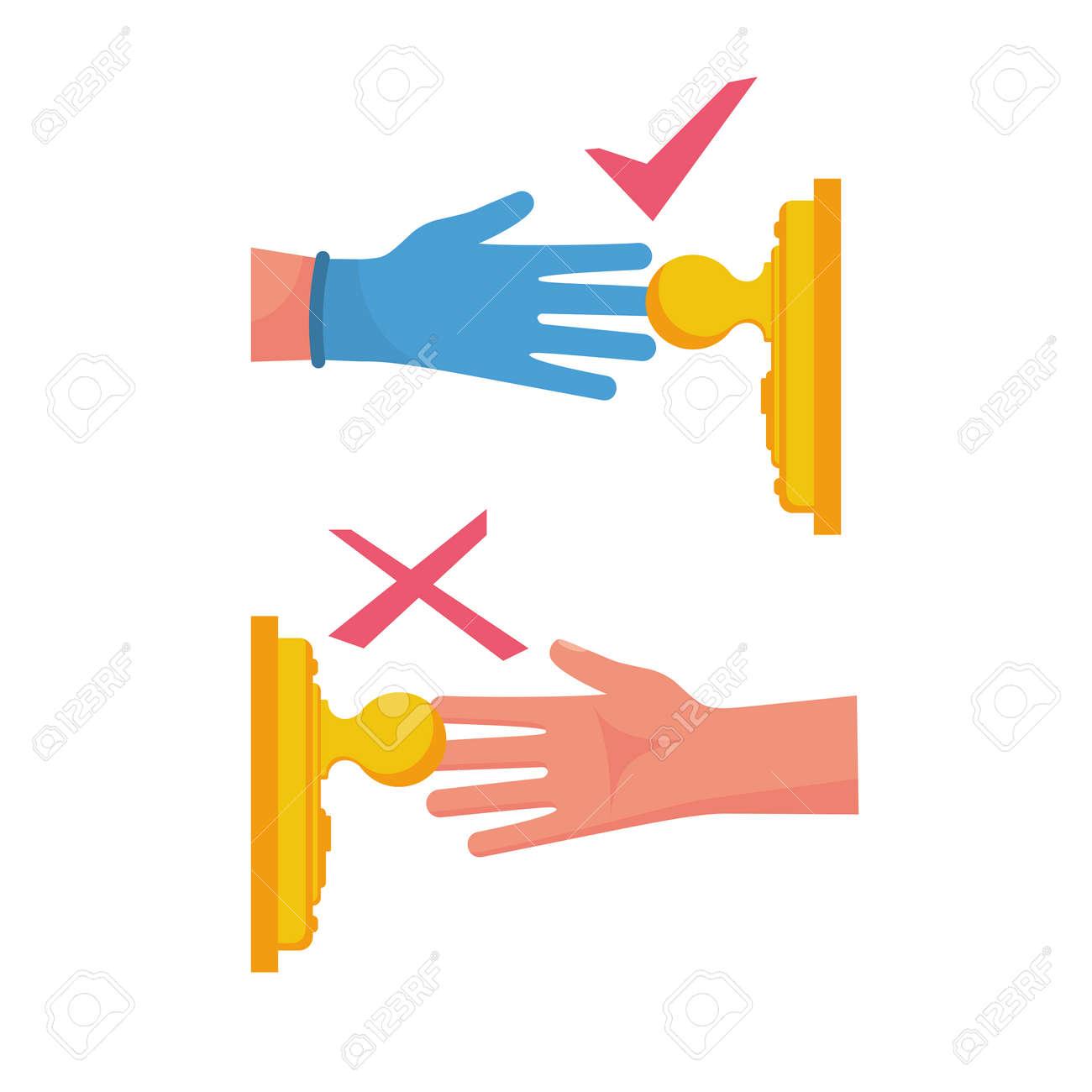 Precautions coronavirus. Infographic elements how to open door. Safety, antibacterial methods of combating diseases. Handle in protective gloves. Vector cartoon design. Danger of disease covid 19. - 144208864