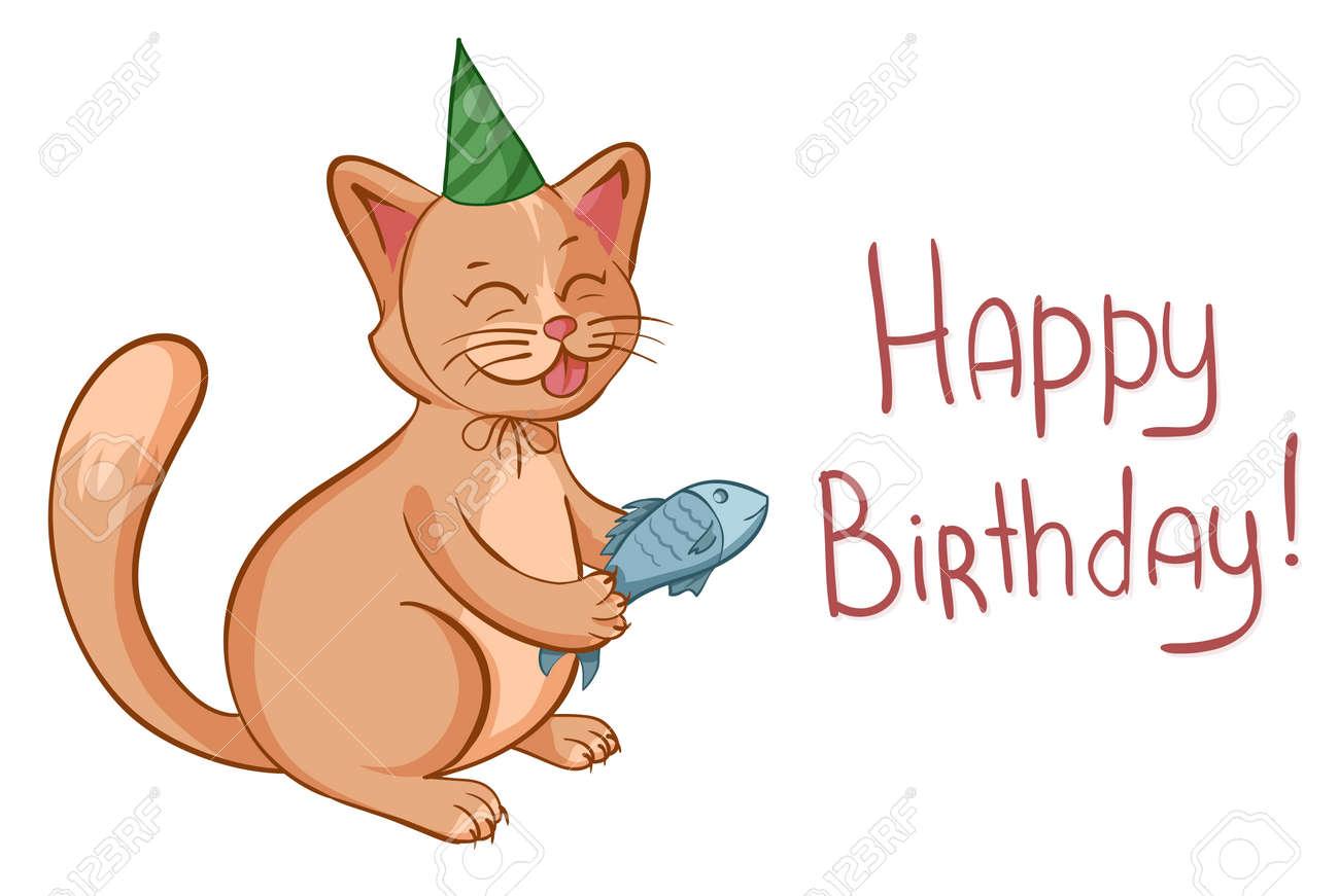 La Tarjeta Del Feliz Cumpleaños Con El Gato Lindo De La Historieta ...