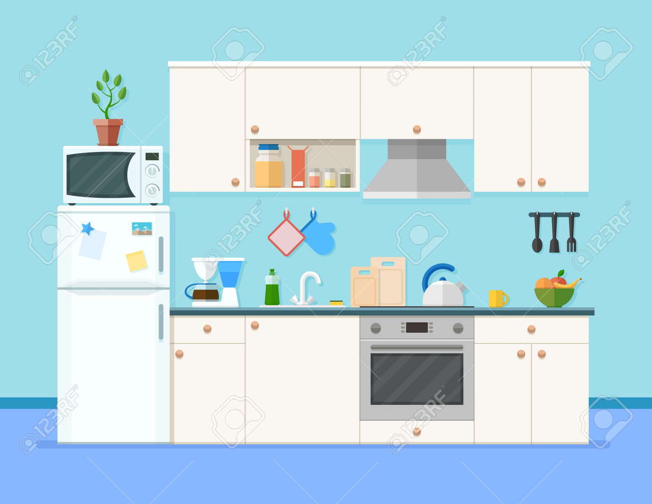 Kitchen interior with furniture shelves with spices and fruits microwave oven fridge