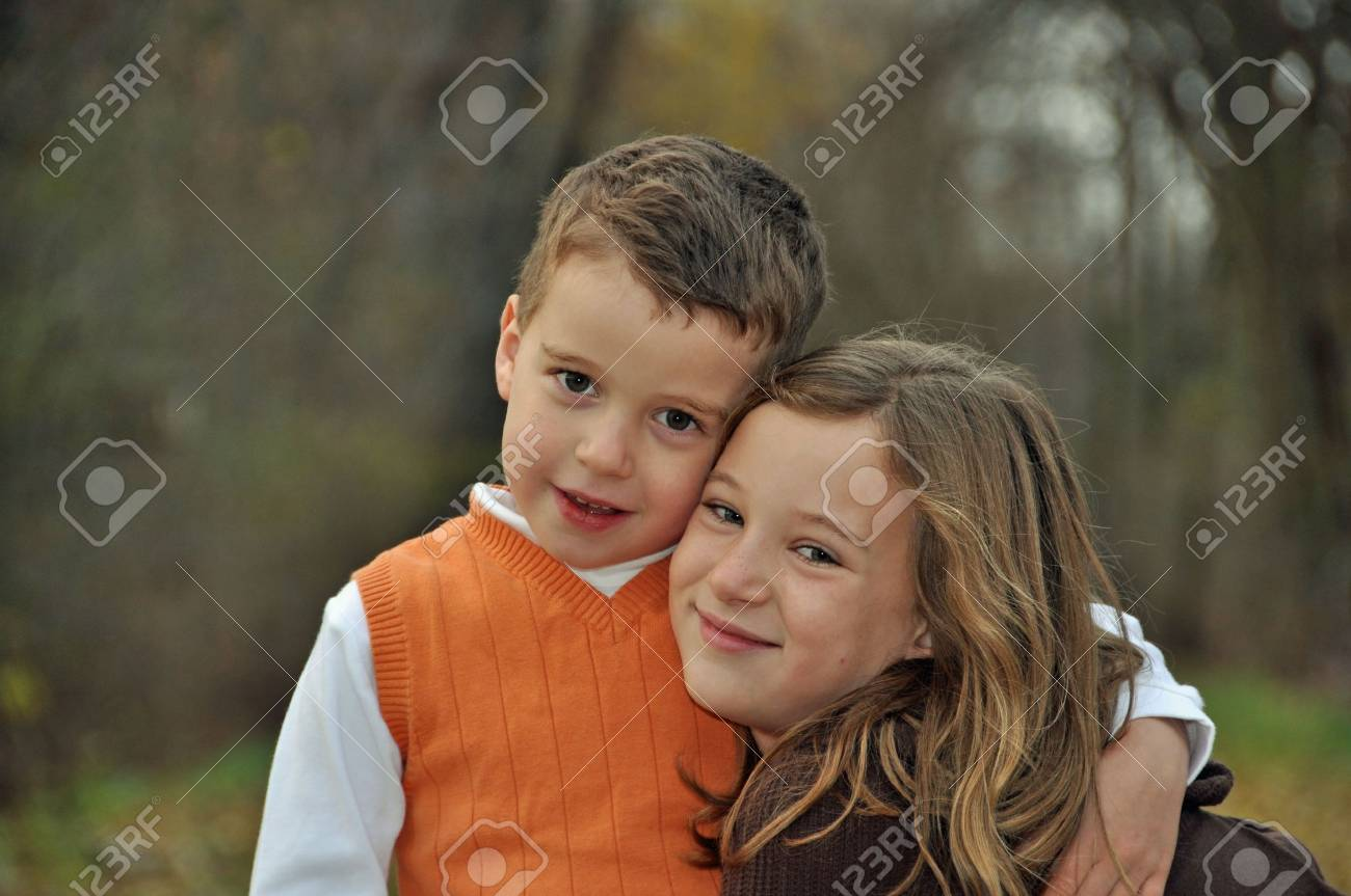 portrait of two young children in autumn Stock Photo - 6340123