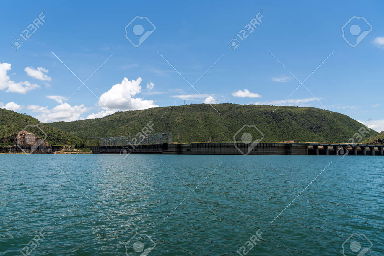 View from behind the floodgates of an electric power dam - 119223711