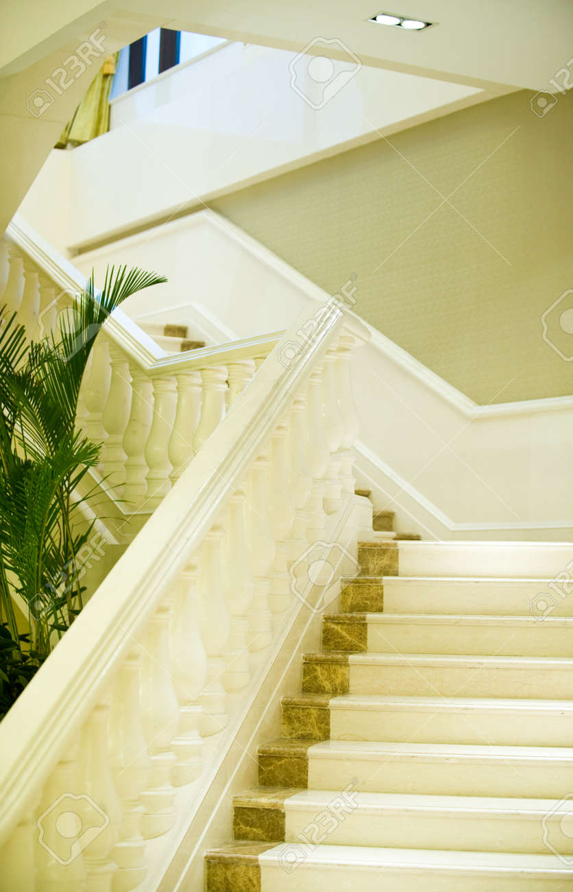 white marble stairs and handrail in a luxury building. Stock Photo - 13265991