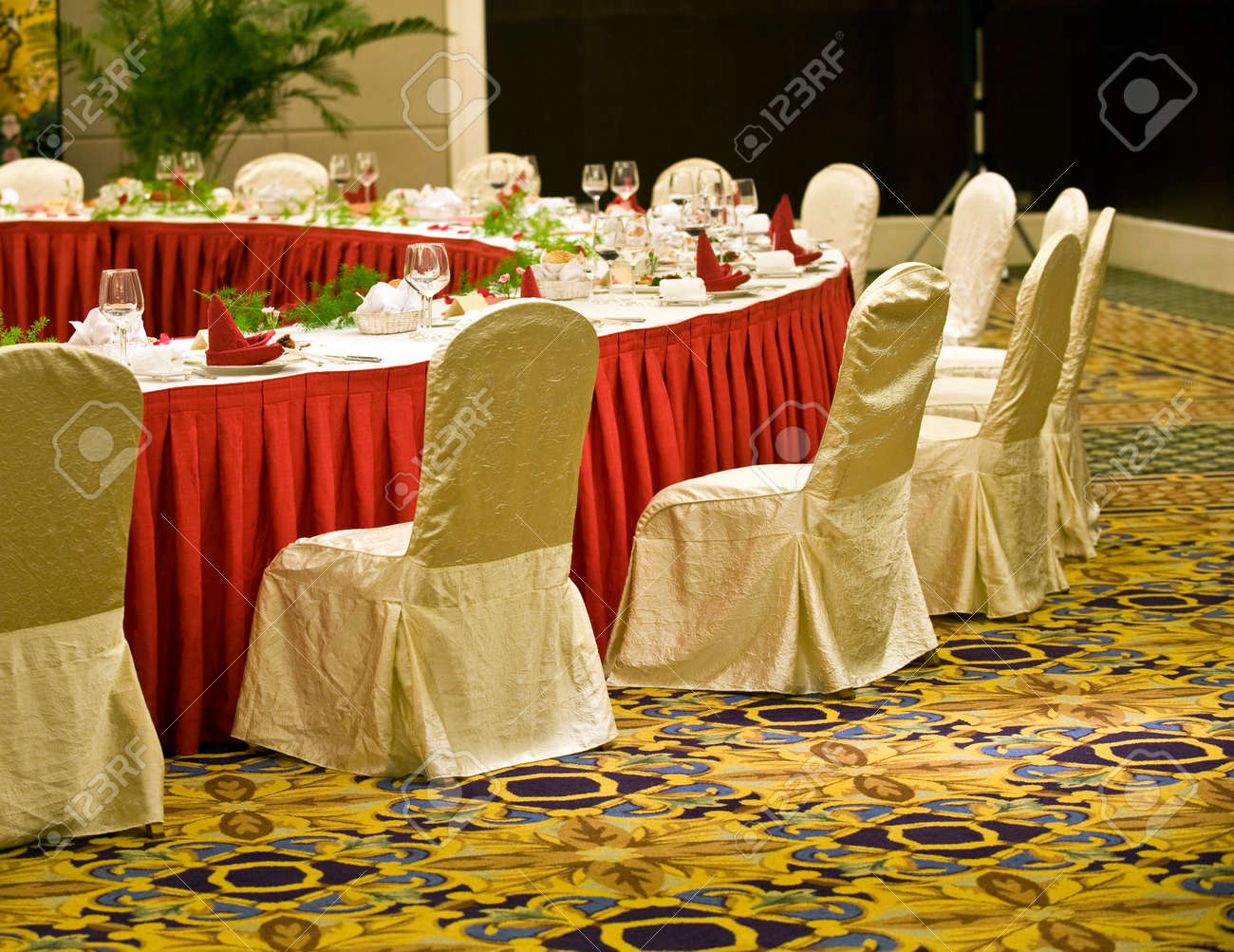 Round banquet table with chairs in chinese hotel. Stock Photo - 13265964