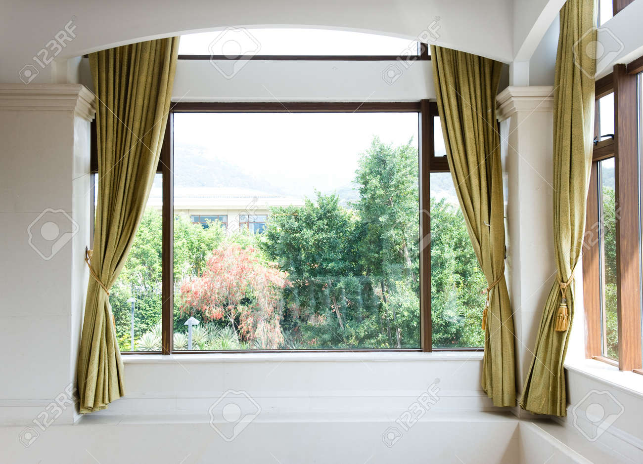 Window And Curtains With Garden View . Stock Photo   13265958