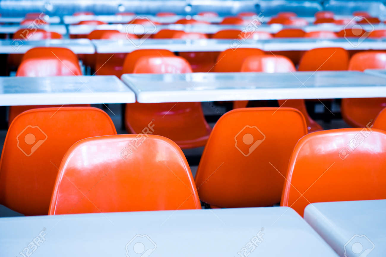 Clean cafeteria tables - Clean School Cafeteria With Many Empty Seats And Tables Stock Photo 13344789