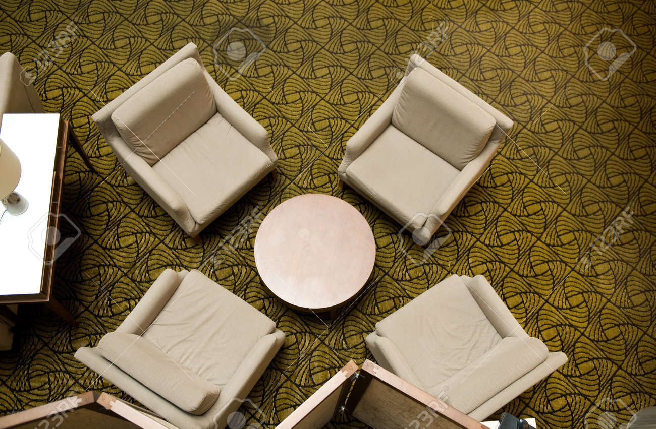 Table and chairs top view - Waiting Room With Four Chairs And Table Top View Stock Photo 13536363