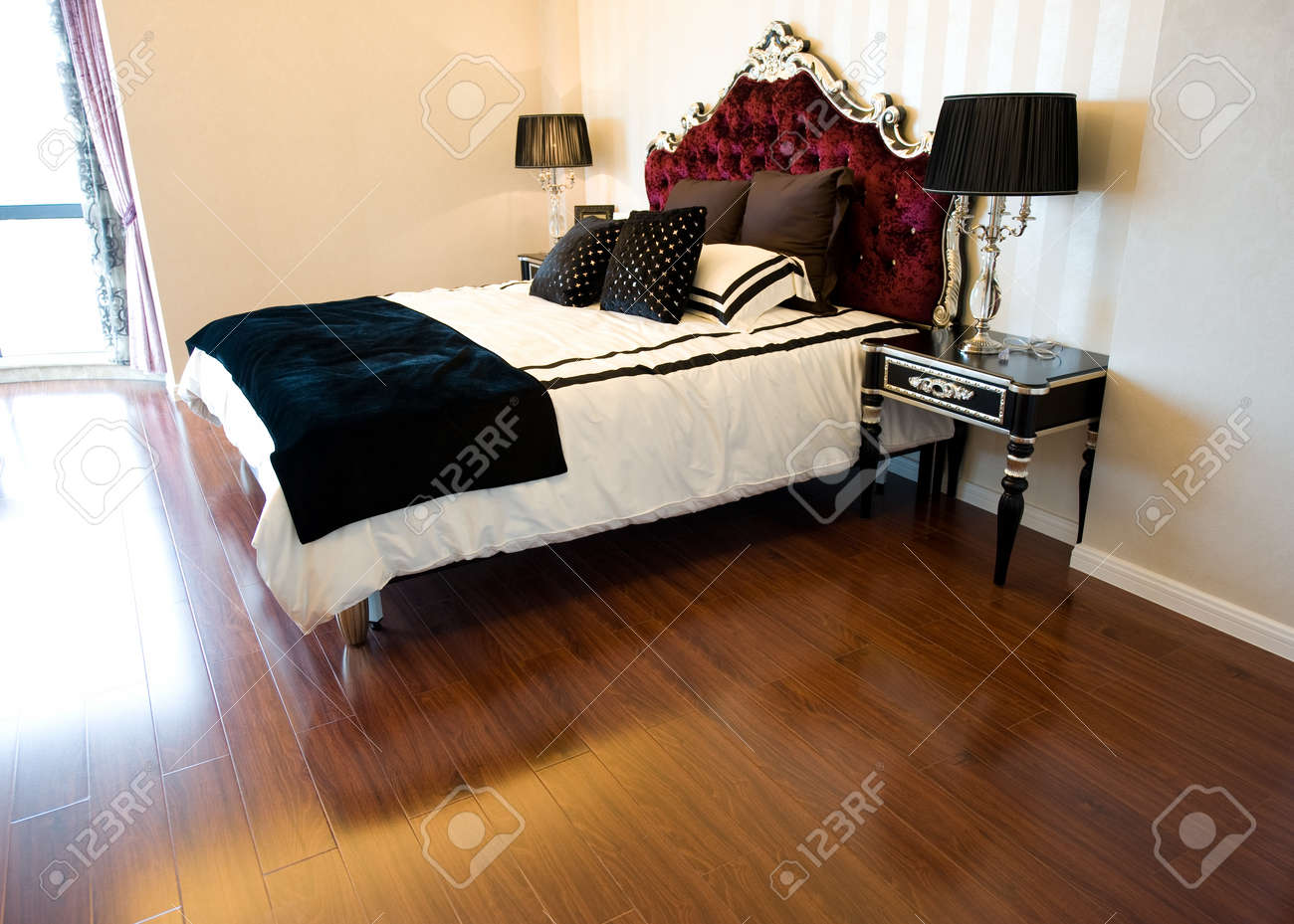 Double bed in the modern interior room stock photo picture and