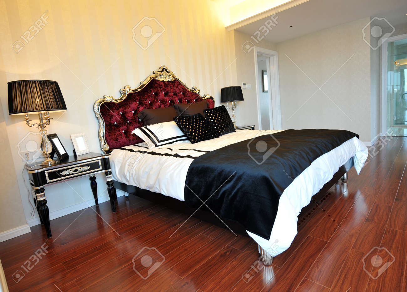 Double bed in the modern interior room Stock Photo - 13536858