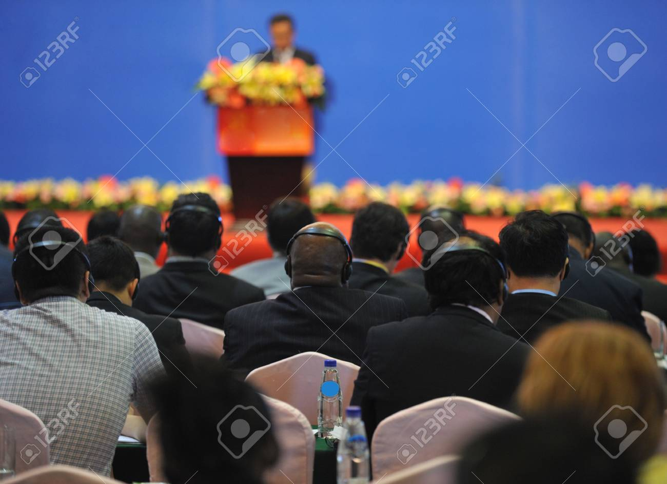 A international seminar was held in Xiamen International Conference and Exhibition Center, photo taken in September 2011. International Fair for Investment and Trade  Stock Photo - 13602331