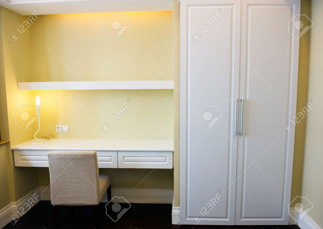 modern shelf and table in bedroom. Stock Photo - 13710079
