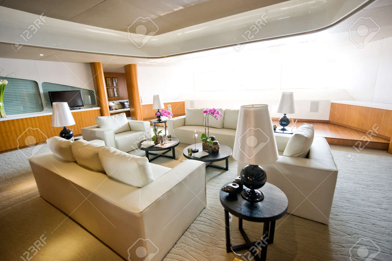 Luxury Living Room In A Expensive Yacht Stock Photo