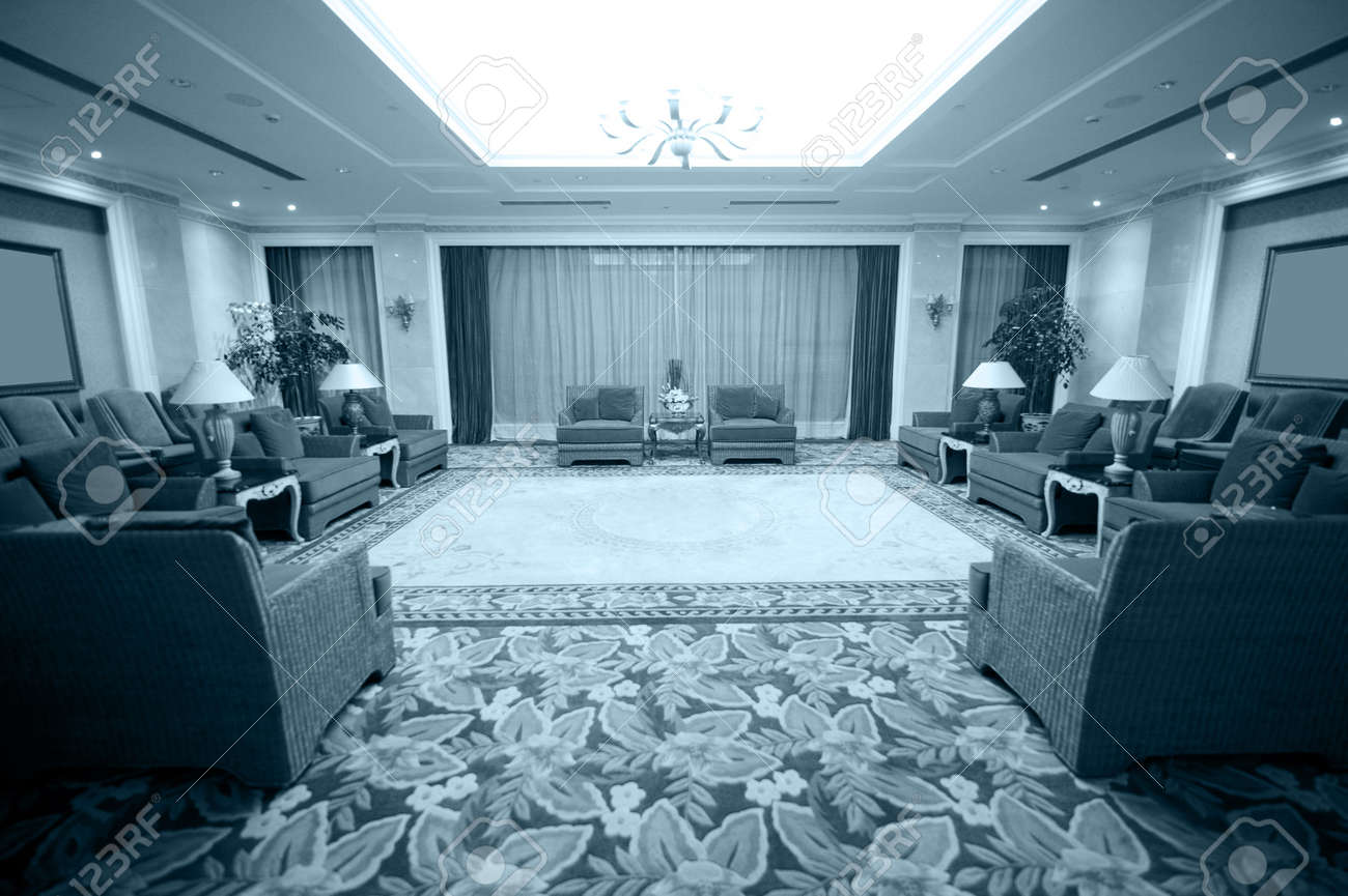 Luxurious conference room ready for audience.
