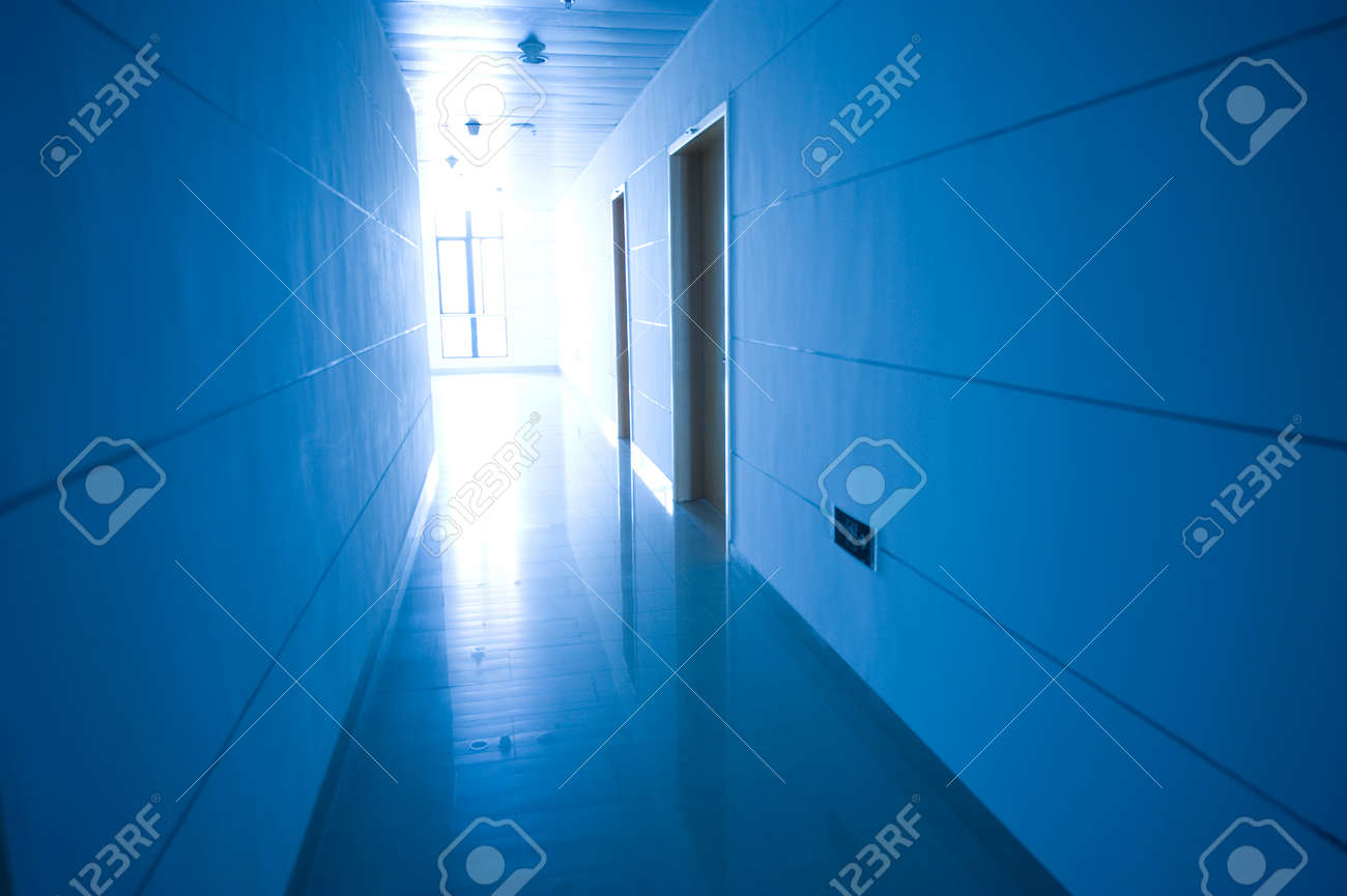 blue tone of long corridor in hospital.  Stock Photo - 13824735