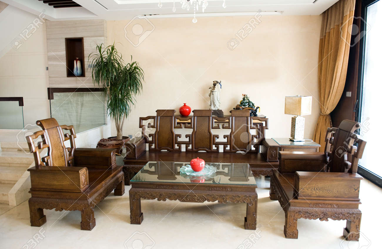 Living Room Furnished With Antique Chinese Rosewood Furniture. Stock Photo    13861010