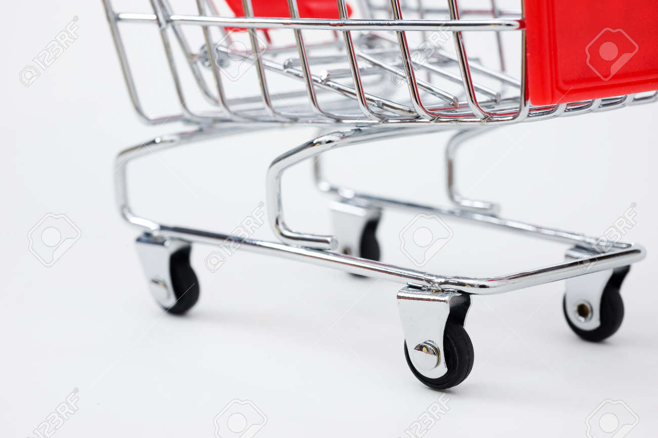 isolated shopping cart on the white Stock Photo - 13863609