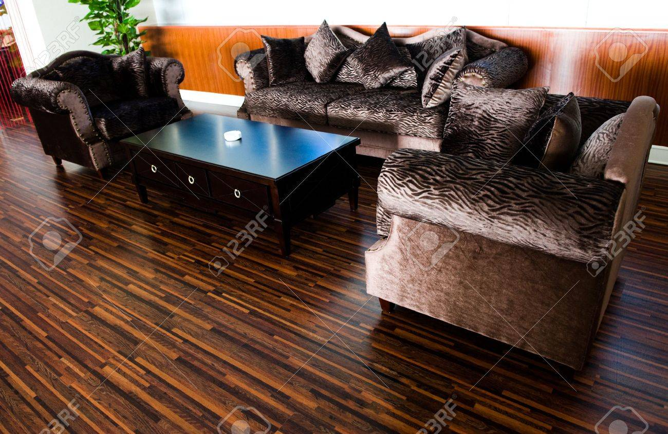 Design Of Flooring bright modern interior design with hard wood flooring. stock photo