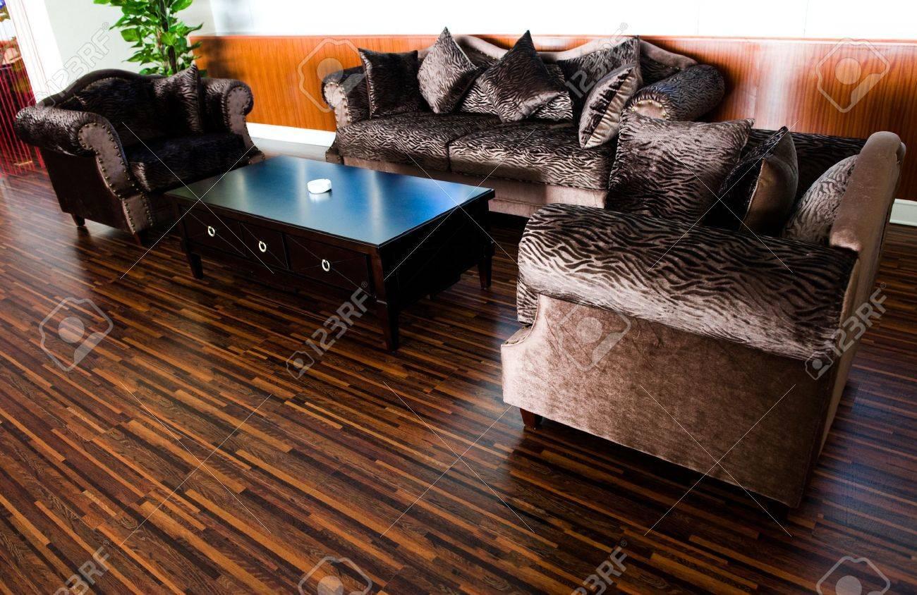Bright Modern Interior Design With Hard Wood Flooring. Stock Photo ... - ^