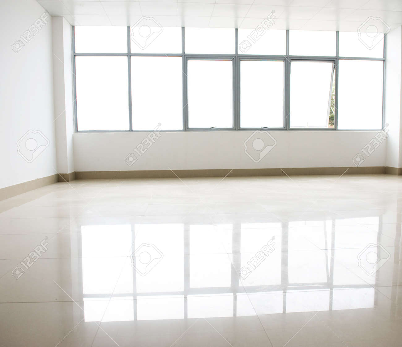 empty internal view with glass wall. Stock Photo - 14142316