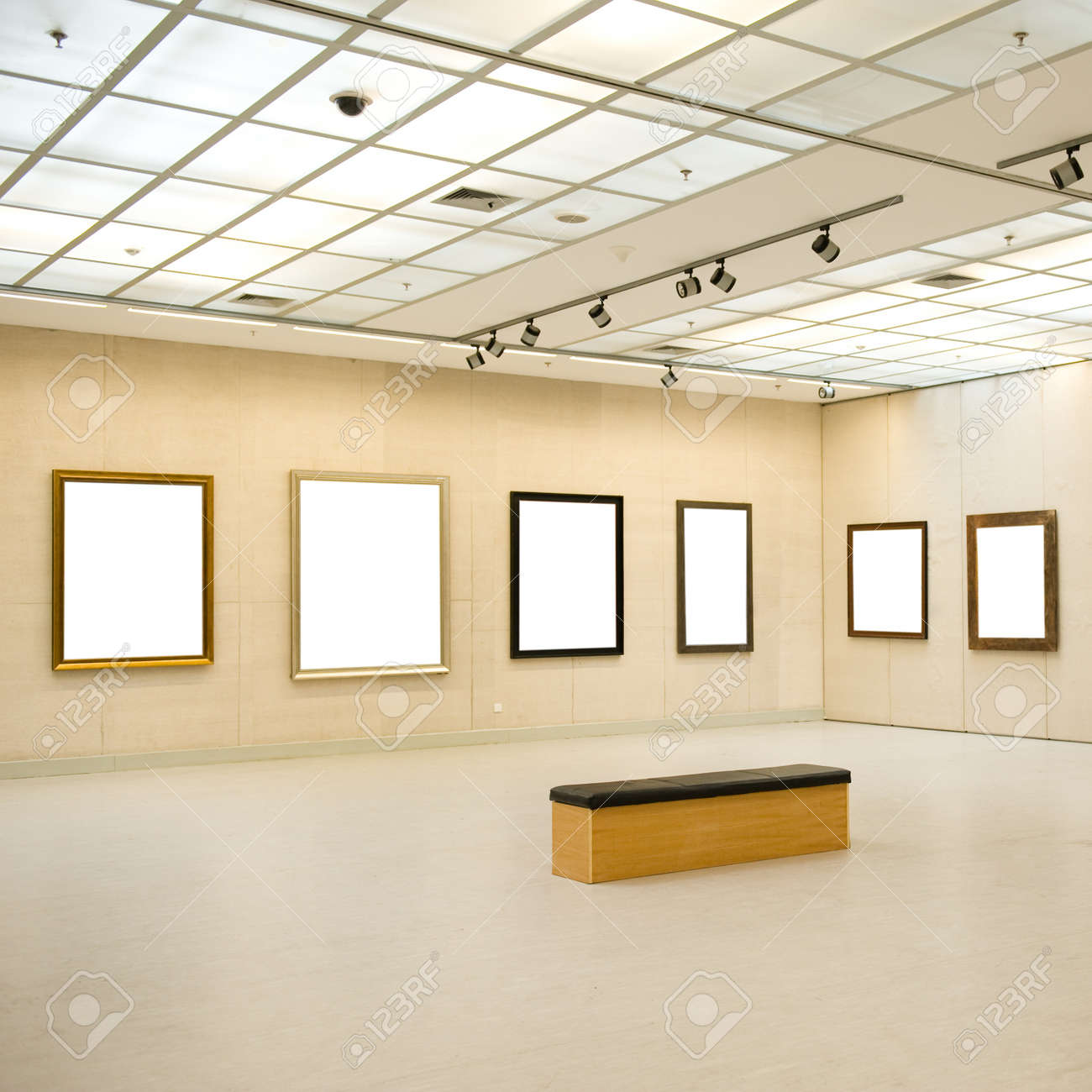 Gallery Interior with empty frame on wall  Stock Photo - 14142438