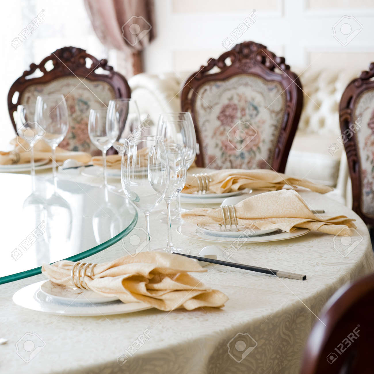 Formal dining room table and chairs set for dinner Stock Photo - 14248207