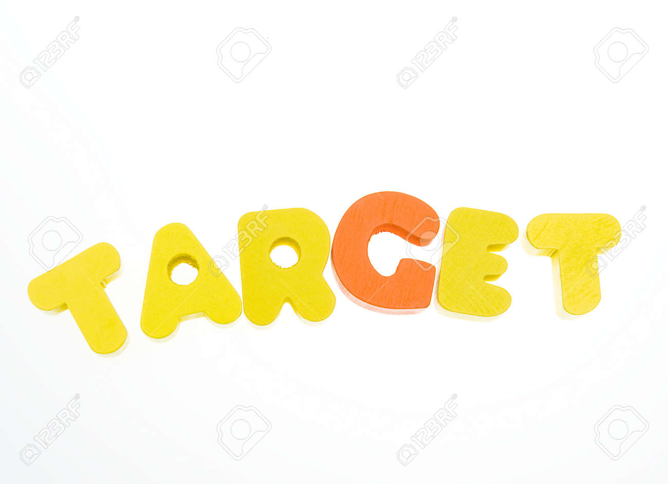 stock photo wooden letters spelling the word target on white background