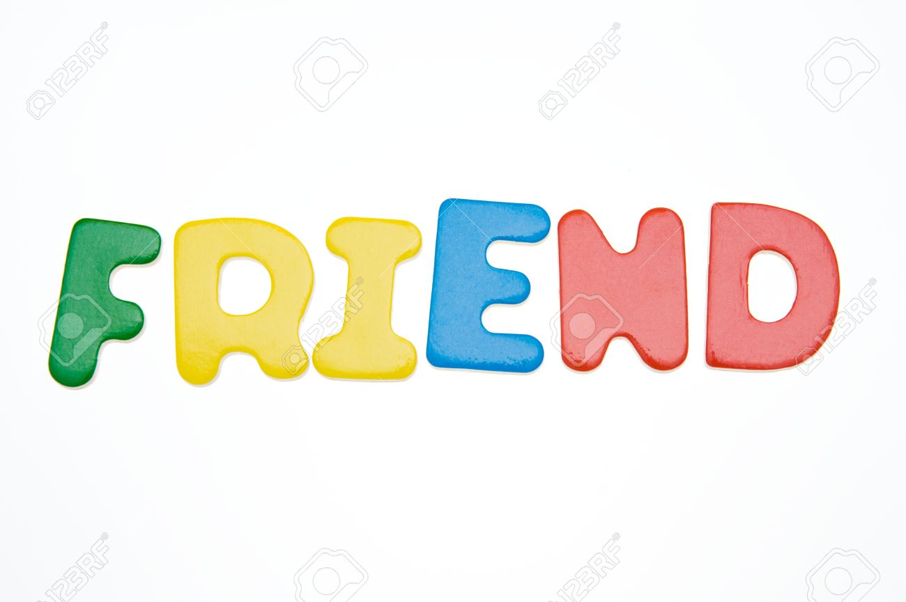 stock photo wooden letters spelling the word friend on white background