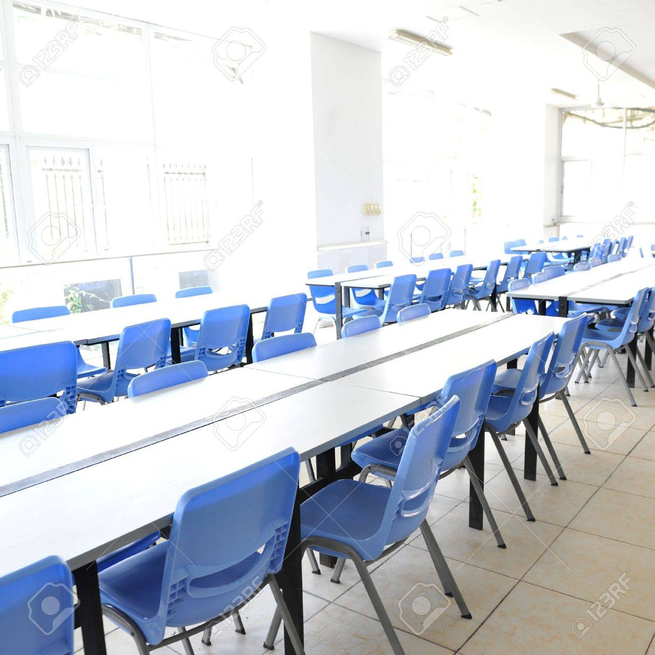 Clean cafeteria tables - Clean School Cafeteria With Many Empty Seats And Tables Stock Photo 14588826