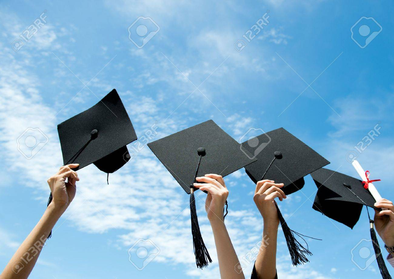 Free coloring pages graduation caps - Graduation Cap Many Hand Holding Graduation Hats On Background Of Blue Sky Stock Photo